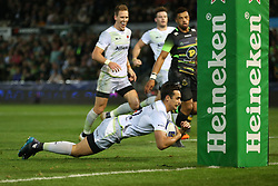 Saracens Alex Lozowski scores a try under the posts during the Champions Cup match at Franklin's Gardens, Northampton.