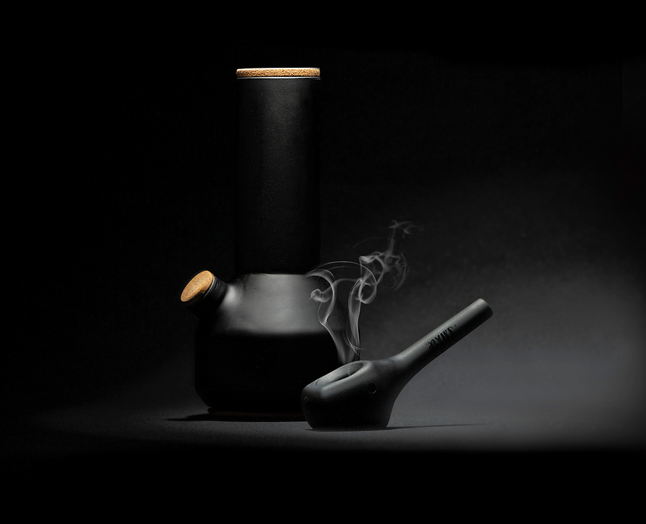 In the studio to shoot these two ceramic pipes for RYOT cannabis accessories.