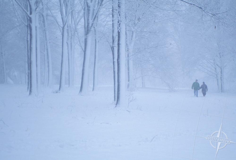 Couple walking in blizzard