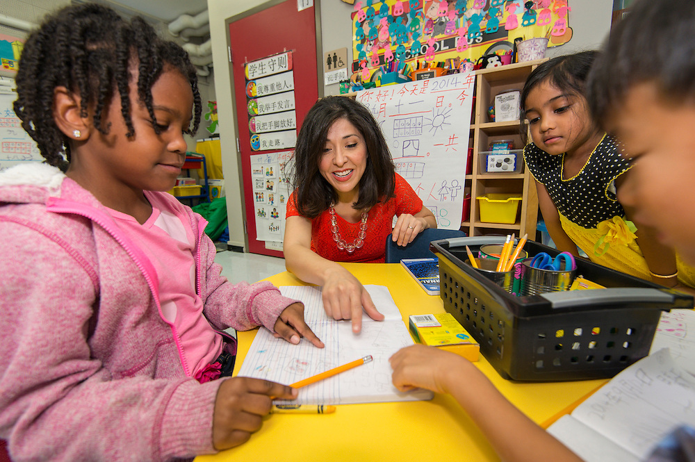 Houston ISD board of trustees president Juliet Stipeche visits with students at the Mandarin Chinese Language Immersion Magnet School, September 12, 2014.