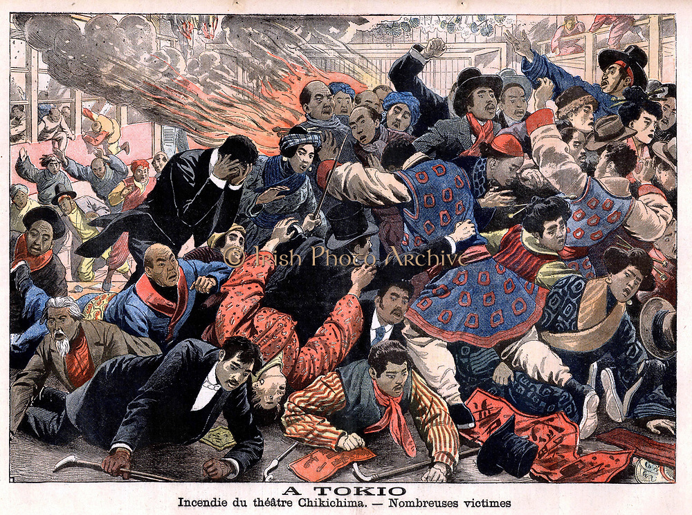 Fire in the Chikichima Theatre, Tokyo.  Victims knocked down and trampled on as people stampede in an attempt to escape the spreading fire. From 'Le Petit Journal', Paris, c1900.