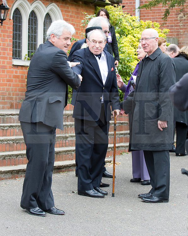 © licensed to London News Pictures. 18/05/2011. Tonbridge, UK. L to R Kevin Kegan, Cliff Morgan (Former rugby player) and Sir Bobby Charlton  at the funeral of heavyweight boxing legend Sir Henry Cooper at Corpus Christi Church in Lyons Crescent, Tonbridge, Kent today (18/05/2011).  Please see special instructions for usage rates. Photo credit should read Ben Cawthra/LNP