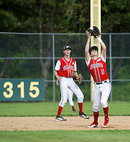Pittsfield outfielder Max Tuttle makes the catch during NHIAA Division IV semi final against Sunapee Wednesday afternoon at PSU.  (Karen Bobotas/for the Concord Monitor)