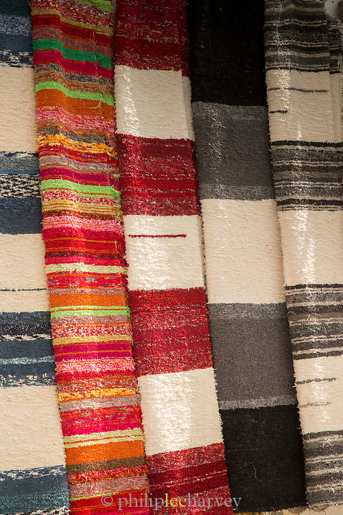 Close-up of rugs in market stall, Bubion, Andalusia, Spain
