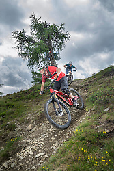Mountain bikers riding down hill on forest path, Trentino-Alto Adige, Italy