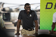 January 27 2016: Pro Football Hall of Famer Michael Irvin during the Pro Bowl Draft at Wheeler Army Base on Oahu, HI. (Photo by Aric Becker/Icon Sportswire)
