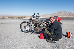 Master mechanic Ziggy Dee rode Sharon Jacob's 1915 HD during the Motorcycle Cannonball Race of the Century. Stage-14 ride from Lake Havasu CIty, AZ to Palm Desert, CA. USA. Saturday September 24, 2016. Photography ©2016 Michael Lichter.