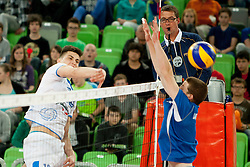 Klemen Cebulj #18 of Slovenia during qualifications match for FIVB Men's World Championship 2014 between National team Slovenia and Israel in pool B on May 24, 2013 in SRC Stozice, Ljubljana, Slovenia. (Photo By Urban Urbanc / Sportida)