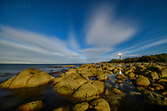 Australia, Tasmania, Eddystone Point , Mount William National Park, Lighthouse in the moonlight