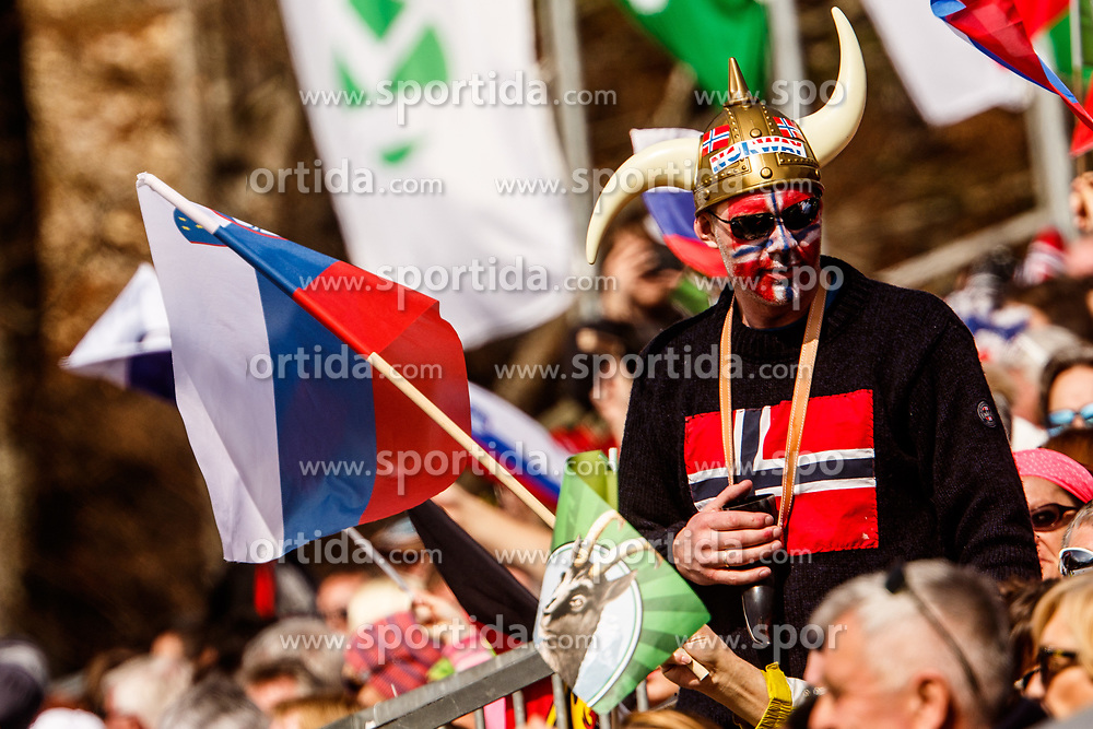 Fan from Norway during the Ski Flying Hill Men's Team Competition at Day 3 of FIS Ski Jumping World Cup Final 2017, on March 25, 2017 in Planica, Slovenia. Photo by Grega Valancic / Sportida