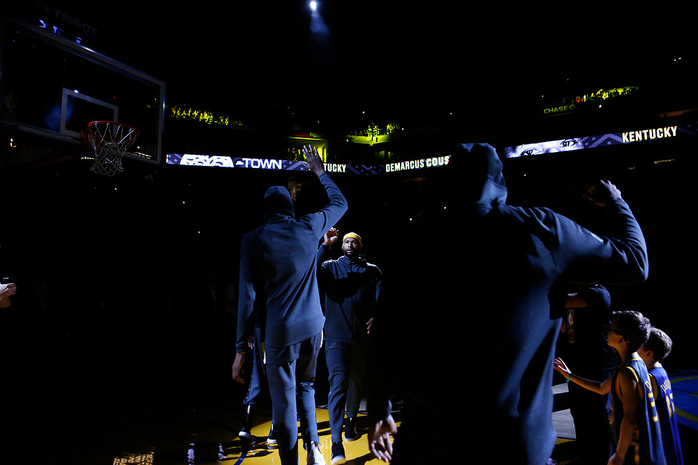 Golden State Warriors center DeMarcus Cousins (0) is introduced before an NBA game against the Los Angeles Lakers at Oracle Arena on Saturday, Feb. 2, 2019, in Oakland, Calif. The Warriors won 115-101.