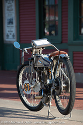 Harley-Davidson Museum Archive Restorer/Conservator Bill Rodencal's 1915 Harley-Davidson on display at the Dodge City finish line during the Motorcycle Cannonball Race of the Century. Stage-8 from Wichita, KS to Dodge City, KS. USA. Saturday September 17, 2016. Photography ©2016 Michael Lichter.