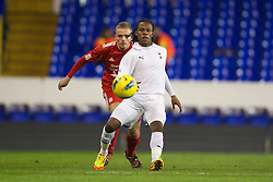 LONDON, ENGLAND - Wednesday, February 1, 2012: Liverpool's Ryan McLaughlin in action against Tottenham Hotspur's Shaquile Coulthirst during the NextGen Series Quarter-Final match at White Hart Lane. (Pic by David Rawcliffe/Propaganda)
