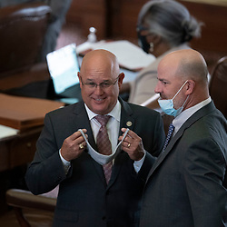 Austin, TX USA March 31, 2021:  State Rep. Kyle Kacal, R-College Station, on the floor of the Texas House of Representatives during routine bill readings at the 87th Texas legislative session. Emergency bills include power company regulation, border security and the coronavirus response.