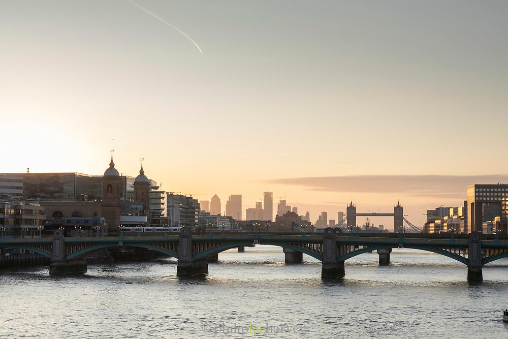 Sunrise over London seen from Millennium Bridge, London, England, UK