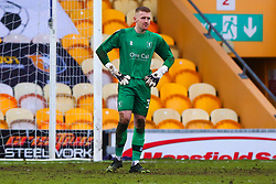 A dejected Aidan Stone of Mansfield Town after letting Cambridge United make it 3-0 - Mandatory by-line: Ryan Crockett/JMP - 20/02/2021 - FOOTBALL - One Call Stadium - Mansfield, England - Mansfield Town v Cambridge United - Sky Bet League Two
