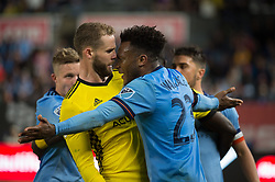 November 5, 2017 - Bronx, New York, U.S - New York City FC defender RODNEY WALLACE (23) and Columbus Crew defender JOSH WILLIAMS (3) fight over a foul during leg 2 of the Eastern Conference Semifinal at Yankee Stadium, Bronx, NY.  NYCFC defeats Columbus Crew 2-0.  Columbus wins 4-3 on aggregate. (Credit Image: © Mark Smith via ZUMA Wire)