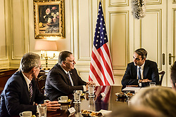 U.S. Secretary of State Mike Pompeo speaks with Greek Prime Minister Kyriakos Mitsotakis at the Maximos Mansion in Athens, Greece October 5, 2019.<br /> <br /> Pictured: <br /> Dimitris Lampropoulos  | EEm date