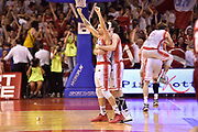 DESCRIZIONE : Reggio Emilia Lega A 2014-15 Semifinale Gara 6 Grissin Bon Reggio Emilia - Umana Venezia <br /> GIOCATORE : Andrea Cinciarini Amedeo Della Valle <br /> CATEGORIA : esultanza mani post game postgame <br /> SQUADRA : Grissin Bon Reggio Emilia<br /> EVENTO : Campionato Lega A 2014-2015 <br /> GARA : Semifinale Gara 6 Grissin Bon Reggio Emilia - Umana Venezia<br /> DATA : 09/06/2015<br /> SPORT : Pallacanestro <br /> AUTORE : Agenzia Ciamillo-Castoria/GiulioCiamillo<br /> Galleria : Lega Basket A 2014-2015  <br /> Fotonotizia : Reggio Emilia Lega A 2014-15 Semifinale Gara 6 Grissin Bon Reggio Emilia - Umana Venezia