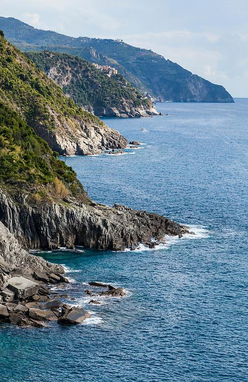 The Cinque Terre Riviera along the Ligurian Sea, Italy.