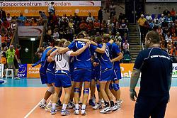 12-09-2010 VOLLEYBAL: EK KWALIFICATIE NEDERLAND - ESTLAND: ROTTERDAM<br /> De spelers van Estland vieren het winnen van de wedstrijd met 3-0<br /> ©2010-WWW.FOTOHOOGENDOORN.NL / Peter Schalk