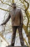 Statue bronze sculpture of politician Aneurin Bevan 1897-1960 in Queen Street, Cardiff, South Wales, UK by Robert Thomas