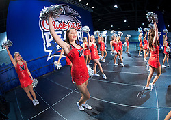 Dec 31, 2014; Atlanta , GA, USA; Mississippi Rebels cheerleaders perform at an event prior to the game against the TCU Horned Frogs in the 2014 Peach Bowl at the Georgia Dome. Mandatory Credit: Paul Abell/CFA Peach Bowl via USA TODAY Sports