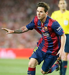 30.05.2015, Camp Nou, Barcelona, ESP, Copa del Rey, Athletic Club Bilbao vs FC Barcelona, Finale, im Bild FC Barcelona's Leo Messi celebrates goal // during the final match of spanish king's cup between Athletic Club Bilbao and Barcelona FC at Camp Nou in Barcelona, Spain on 2015/05/30. EXPA Pictures © 2015, PhotoCredit: EXPA/ Alterphotos/ Acero<br /> <br /> *****ATTENTION - OUT of ESP, SUI*****
