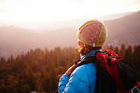 Young woman hiking in Yosemite National Park.