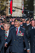 Veterans from the Navy march past the Cenothaph and down Whitehall - Remembrance Sunday and Armistice Day commemorations fall on the same day, remembering the fallen of all conflicts but particularly the centenary of the end of World War One.