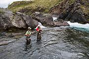 Fishing below the lower falls, Kisaralik RIver, Alaska