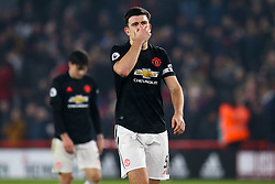 Harry Maguire of Manchester United cuts a dejected figure after the 3-3 draw with Sheffield United - Mandatory by-line: Robbie Stephenson/JMP - 24/11/2019 - FOOTBALL - Bramall Lane - Sheffield, England - Sheffield United v Manchester United - Premier League