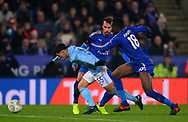 Brahim Diaz of Manchester City in action with Daniel Amartey of Leicester city challenging .Carabao Cup quarter final match, Leicester City v Manchester City at the King Power Stadium in Leicester, Leicestershire on Tuesday 19th December 2017.<br /> pic by Bradley Collyer, Andrew Orchard sports photography.