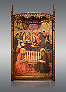 Gothic altarpiece of the Dormition of the Madonna (Dormicio de la Mare de Dieu) by Pere Garcia de Benavarri, circa 1460-1465, tempera and gold leaf on wood.  National Museum of Catalan Art, Barcelona, Spain, inv no: MNAC  64040. .<br /> <br /> If you prefer you can also buy from our ALAMY PHOTO LIBRARY  Collection visit : https://www.alamy.com/portfolio/paul-williams-funkystock/gothic-art-antiquities.html  Type -     MANAC    - into the LOWER SEARCH WITHIN GALLERY box. Refine search by adding background colour, place, museum etc<br /> <br /> Visit our MEDIEVAL GOTHIC ART PHOTO COLLECTIONS for more   photos  to download or buy as prints https://funkystock.photoshelter.com/gallery-collection/Medieval-Gothic-Art-Antiquities-Historic-Sites-Pictures-Images-of/C0000gZ8POl_DCqE