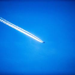 Aeroplane contrails, UK.