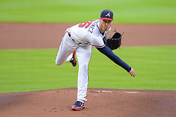 May 15, 2018 - Atlanta, GA, U.S. - ATLANTA, GA Ð MAY 15:  Braves starting pitcher Mike Foltynewicz (26) throws a pitch to the plate during the game between Atlanta and Chicago on May 15th, 2018 at SunTrust Park in Atlanta, GA. (Photo by Rich von Biberstein/Icon Sportswire) (Credit Image: © Rich Von Biberstein/Icon SMI via ZUMA Press)