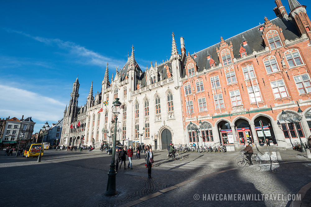 Cobblestones in the Markt (Market Square) in the historic center of Bruges, a UNESCO World Heritage site.