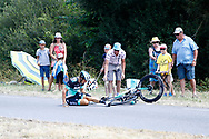 Crash Marcus Burghardt (GER - Bora - Hansgrohe) during the Tour de France 2018, Stage 4, Team Time Trial, La Baule - Sarzeau (195 km) on July 10th, 2018 - Photo Luca Bettini / BettiniPhoto / ProSportsImages / DPPI