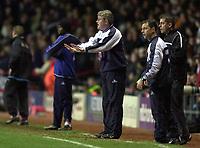 Photo. Richard Lane. <br />Aston Villa v Birmingham City. Barclaycard Premiership. 03/03/2003<br />Birmingham manager, Steve Bruce calls for calm.