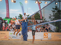 Matevz Berk and Andrej Grut vs. Crt Bosnjak and Miha Plotduring the match for 3rd on Beach volley National Championship of Slovenia  on July 20, 2019 in Kranj, Slovenia. Photo by Urban Meglic / Sportida