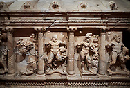 """Roman Herakles (Hercules)  relief sculptured sarcophagus, 2nd century AD, Perge, inv 928. it is from the group of tombs classified as. """"Columned Sarcophagi of Asia Minor"""".  Antalya Archaeology Museum, Turkey ..<br /> <br /> If you prefer to buy from our ALAMY STOCK LIBRARY page at https://www.alamy.com/portfolio/paul-williams-funkystock/greco-roman-sculptures.html . Type -    Antalya    - into LOWER SEARCH WITHIN GALLERY box - Refine search by adding a subject, place, background colour, etc.<br /> <br /> Visit our ROMAN WORLD PHOTO COLLECTIONS for more photos to download or buy as wall art prints https://funkystock.photoshelter.com/gallery-collection/The-Romans-Art-Artefacts-Antiquities-Historic-Sites-Pictures-Images/C0000r2uLJJo9_s0"""