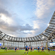 DUBLIN, IRELAND:  September 25:   A general view of a line out during the late afternoon match at the Aviva Stadium showing its distinctive roof during the Leinster V Bulls, United Rugby Championship match at Aviva Stadium on September 25th, 2021 in Dublin, Ireland. (Photo by Tim Clayton/Corbis via Getty Images)