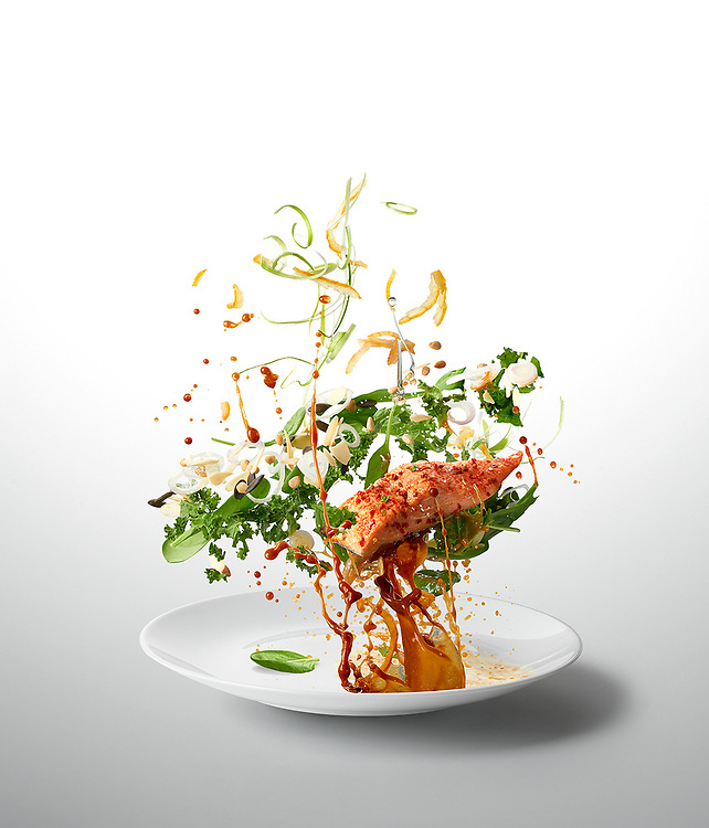 Miso Kale Salad & Salmon<br /> - Ten-A-Day is series created for Men's Health magazine promoting healthy recipes. The levitating images shot dynamic approach to food phoography.