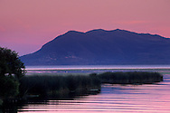 Evening light over Mount Konocti and Clear Lake, near Nice, Lake County, California