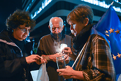 August 21, 2017 - Krakow, Poland - A month after the Polish President's veto around a hundred people gathered in front of Krakow's District Court on Monday evening for another anti-government candle-lit vigil in relation to judicial reforms. .On Monday, August 21, 2017, in Krakow, Poland. (Credit Image: © Artur Widak/NurPhoto via ZUMA Press)