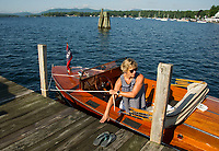1928 22' Chris Craft Runabout comes in to the Wolfeboro docks for the annual Antique Boat Show.  ©2018 Karen Bobotas Photographer