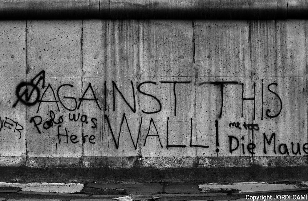 Graffiti on Berlin Wall, 1983. Berlin, Germany.<br /> The Berlin Wall was the border between Berlin West and Berlin East from 13 August 1961 until 9 November 1989. Germany, Berlin