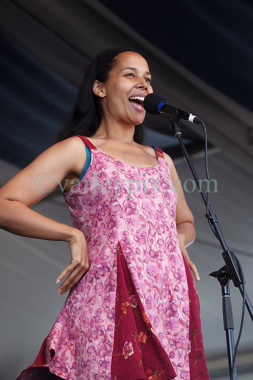 28 April 2012. New Orleans, Louisiana,  USA. .New Orleans Jazz and Heritage Festival. .Rhiannon Giddens of the Grammy award winning traditional folk band the Carolina Chocolate Drops..Photo; Charlie Varley.