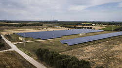 June 10, 2017 - San Pietro Vernotico, Brindisi, Italy - A drone view of photovoltaic panels in San Pietro Vernotico, South of Italy, on June 10, 2017. (Credit Image: © Manuel Romano/NurPhoto via ZUMA Press)