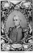 Zachary Taylor (1784-1850) American soldier and 12th President of the United States 1849-1850.  Lithograph of General Taylor surrounded by vignettes of his battles.